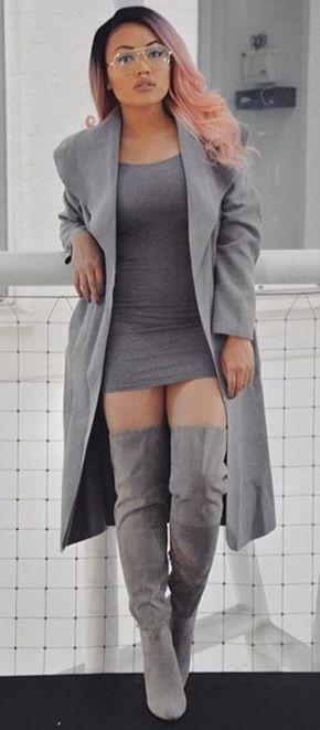 Plus size bodycon dress thigh high boots blazers