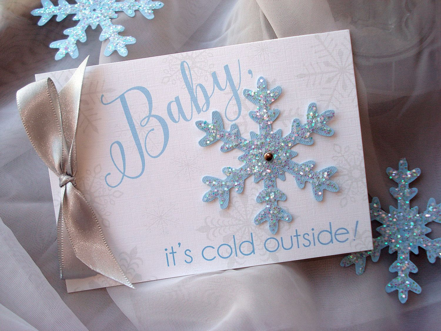 unique homemade baby shower invitation ideas%0A Baby It u    s Cold Outside Shower Invitation  Snowflake Baby Shower Invitation   Winter Baby Shower Invite Set  Blue and gray Baby Shower