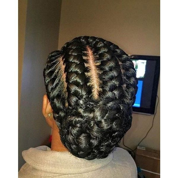31 Goddess Braids Hairstyles for Black Women ❤ liked on Polyvore featuring hair