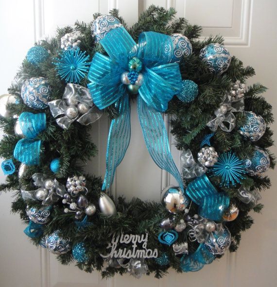 Teal Silver Christmas Wreath By Lelyscreativecorner On Etsy 175 00 Silver Christmas Decorations Burlap Christmas Decorations Teal Christmas