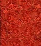 All That Glitters Fabric-Satin Rosette Embroidered  Orange