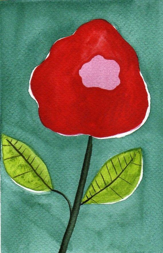Acuarela: Acuarela flor pinturaMini láminaflor roja por PopwheelArt