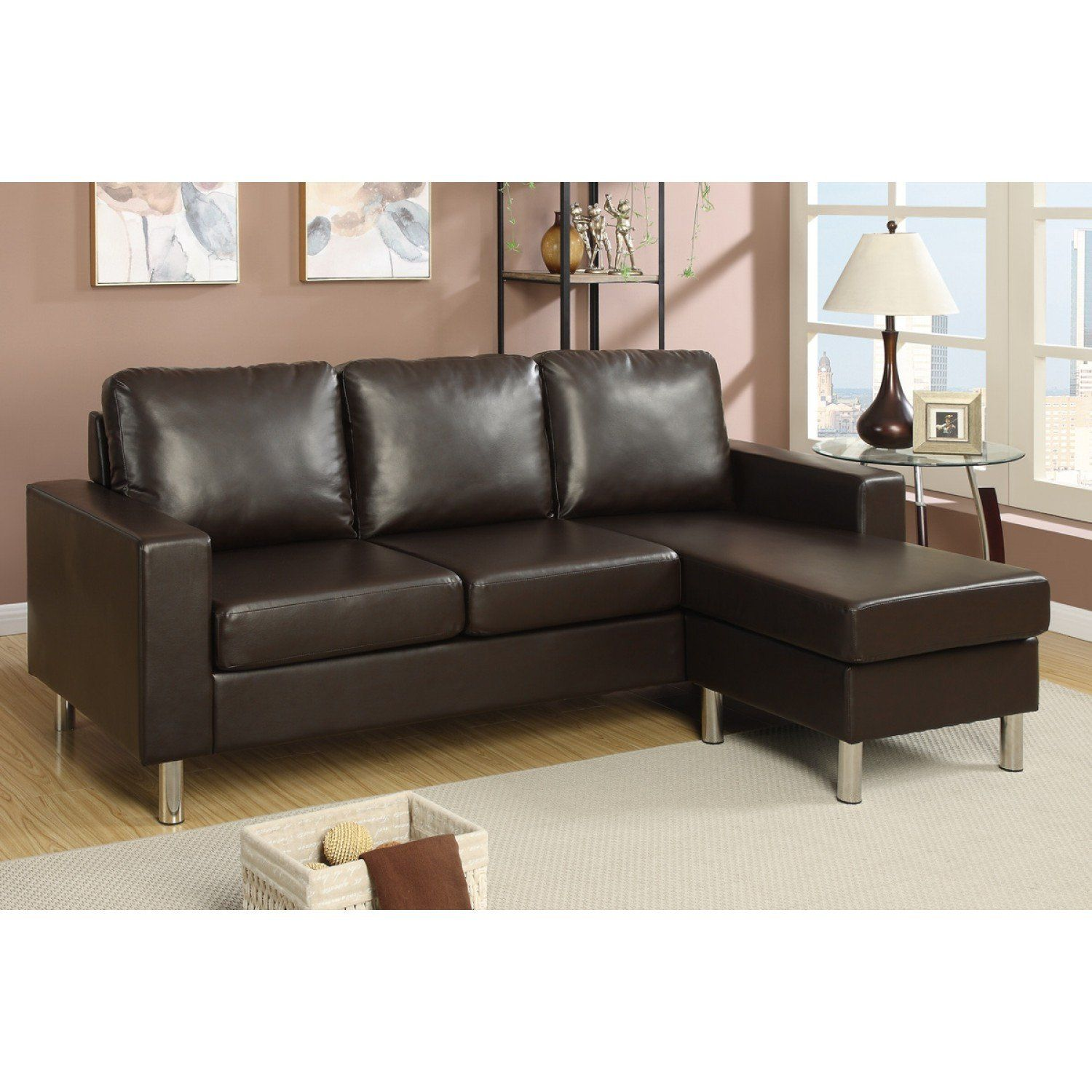 ottoman for living room%0A Espresso faux leather sectional sofa ottoman pd