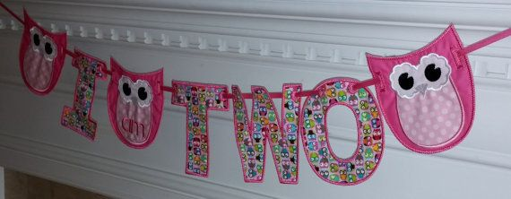 I am Two OWL and Letter Fabric Banner in by TickleYourFancyShop