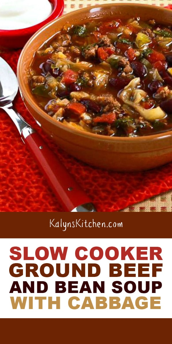 Slow Cooker Ground Beef And Bean Soup With Cabbage Recipe In 2020 Slow Cooker Ground Beef Soup Recipes Slow Cooker Slow Cooker