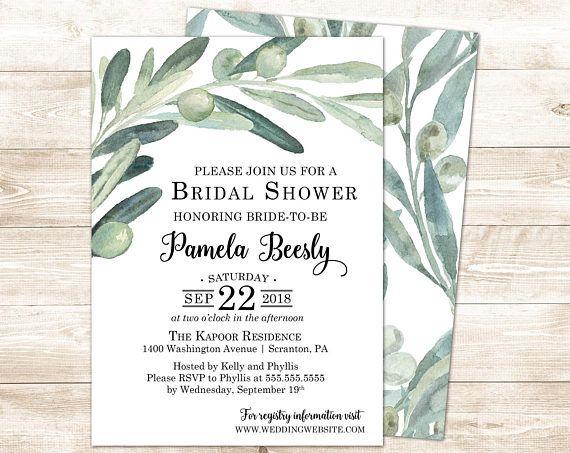 8dd545cc5697 Olive Branch Bridal Shower Invitation- Printable Bridal Shower Invites-  Greenery Bridal Shower Invitations