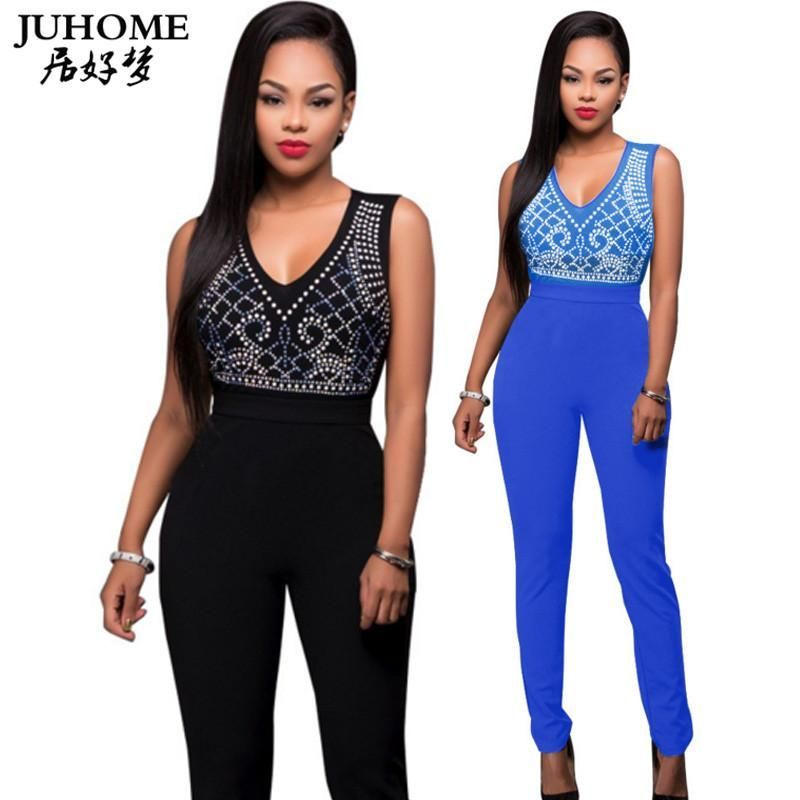 a53004f5042 summer Sleeveless tank Print romper women jumpsuit sexy v neck rhinestone  party bodycon club long pants playsuit Trousers suits