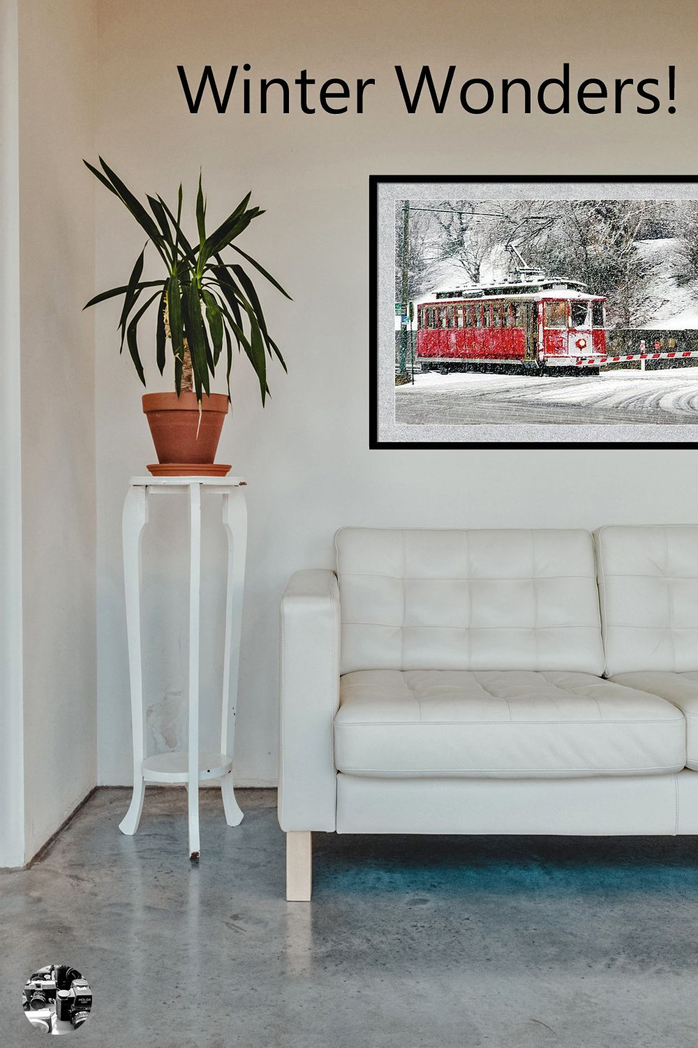 A red trolley, in a snowstorm poster. Shown in a room setting, evokes nostalgia for a simpler time. photo:Bernard Hermant on unsplash #poster #art #trolley #travel #winter #transportation #photography #walldecor #placestovisit #placestosee #lifestyle #memphis #Diyhomedecor #Masterbedroomideas #Aptdecorating #Decorating #interiorDecorating #snow #blizzard #tennessee
