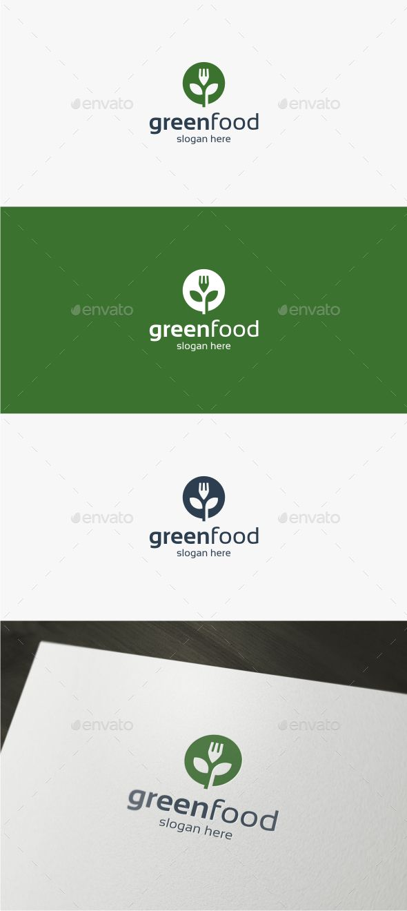Green Food Logo Design Template Vector