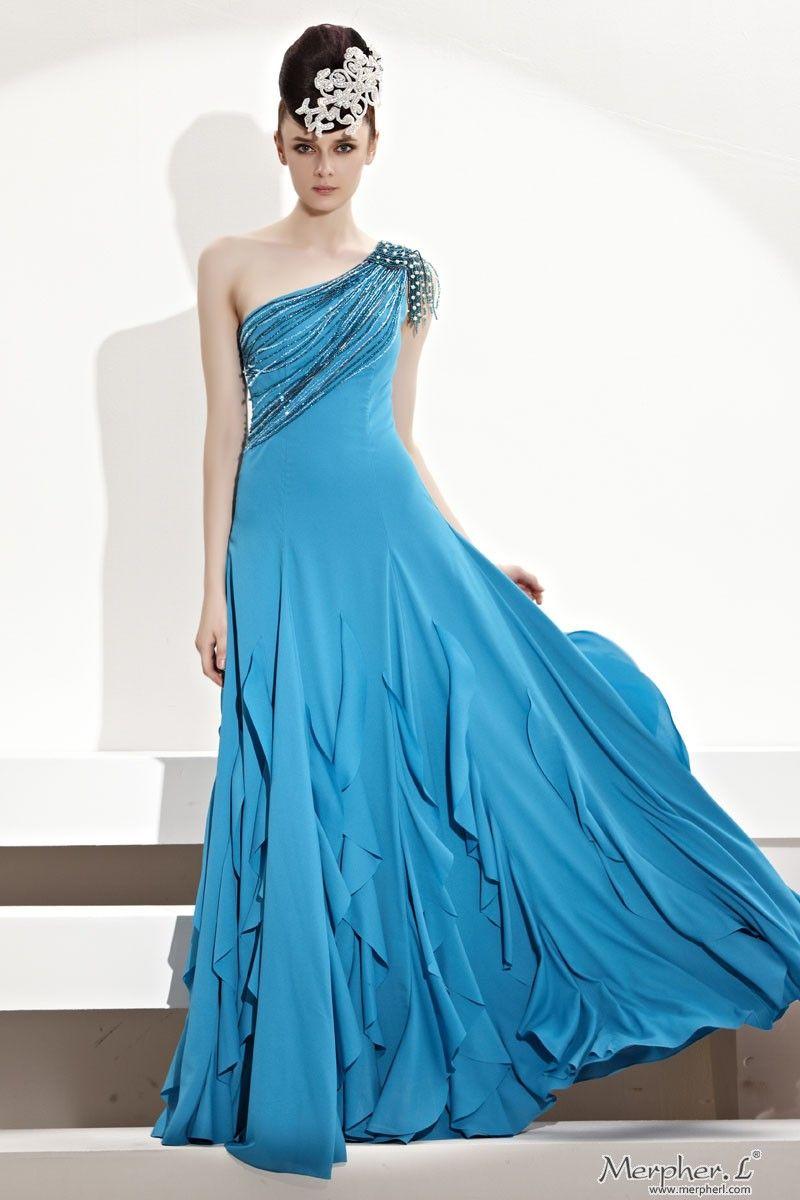 Blue lake drop shoulder chiffonlongeveningdress fashion