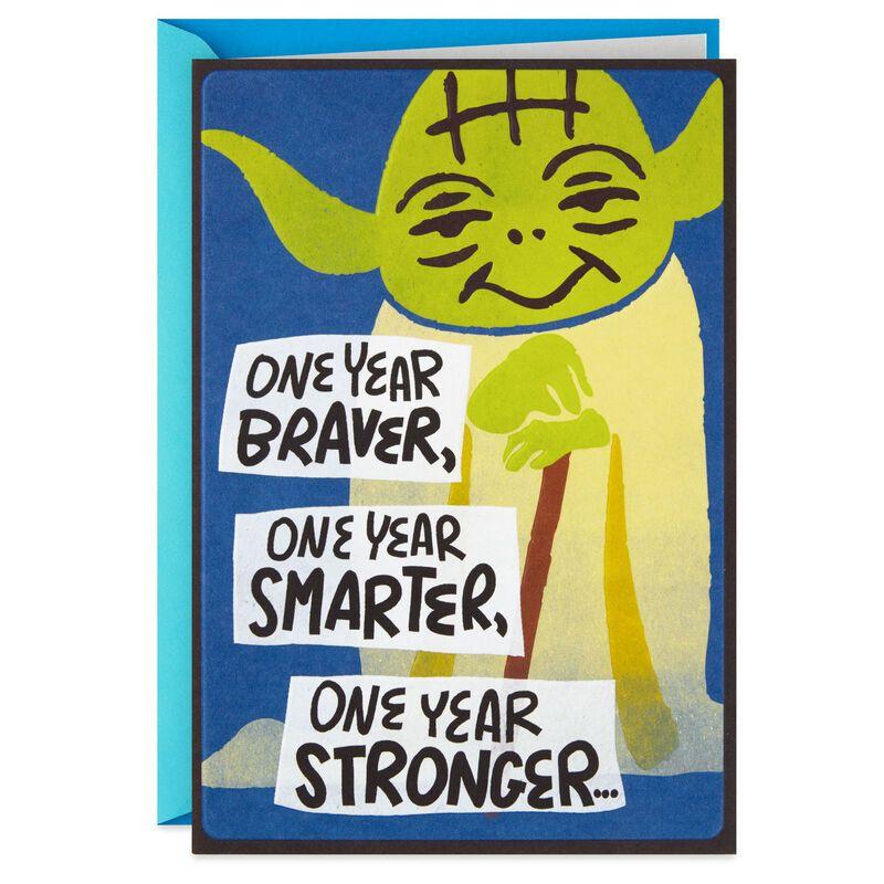 Star Wars Yoda Braver Stronger Birthday Card With Tattoo And Ears Star Wars Happy Birthday Star Wars Cards Star Wars Yoda