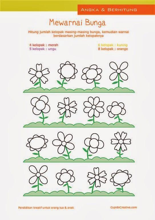 Belajar Anak Balitatk Sambil Mewarnai Kelpoak Bunga Hitung Angka 1