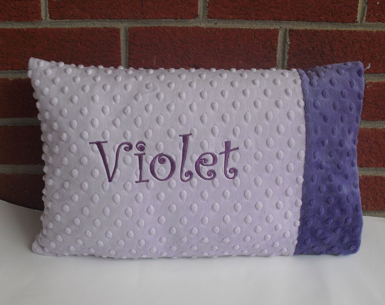Minky Pillow Case (make one standard)- Lavender and Purple Minky dot Toddler / Travel Pillow by The Sleeping Babe. $20.00, via Etsy.