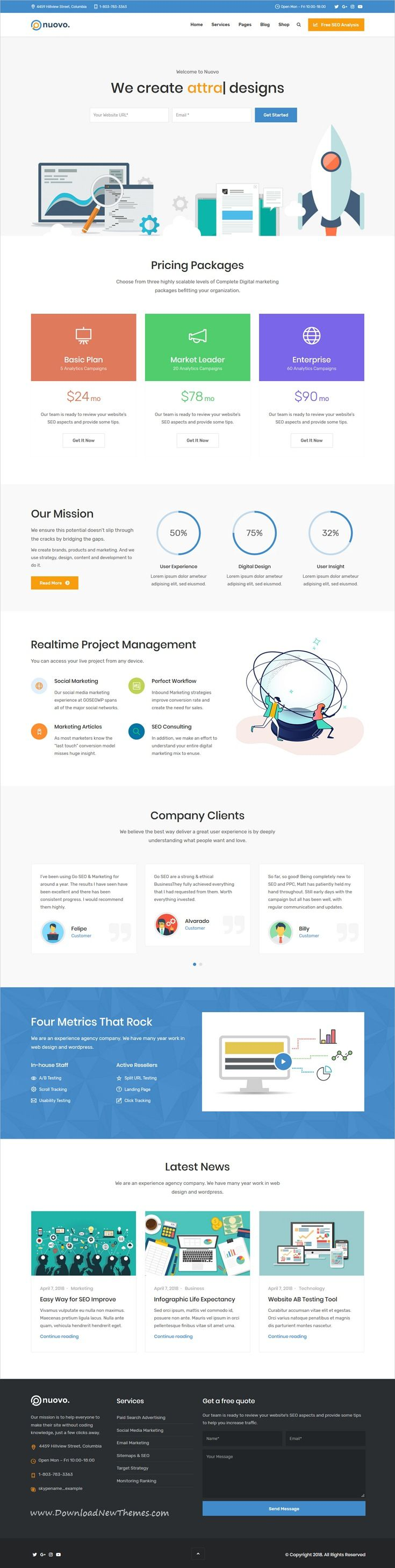Nuovo Is A Clean And Modern Design 6in1 Responsive Wordpress Theme