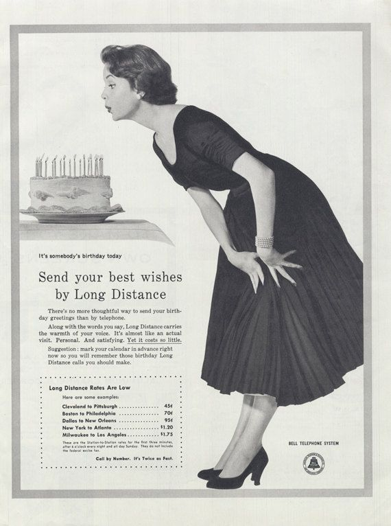 1955 Bell Telephone System Ad Woman Blowing Out By AdVintageCom