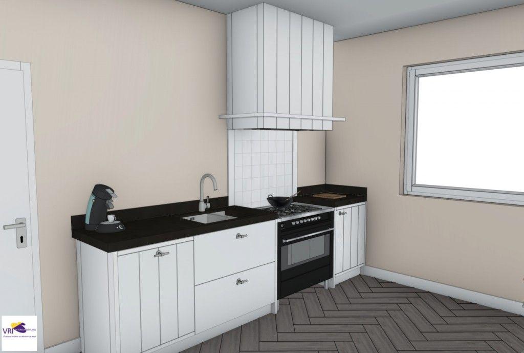 Landelijke moderne keuken met fornuis in 3d ontwerp monique van koppenhagen kleuren ral - Donkergrijs werkblad ...