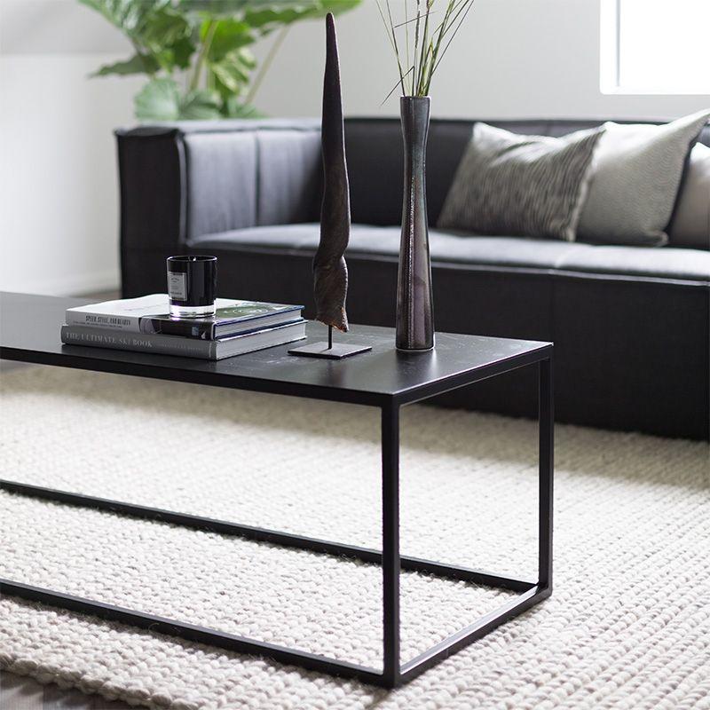 Metalen Salon Tafel.Salontafel Langwerpig Zwart Metaal Interior Decoration