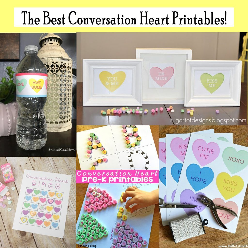 Printable Conversation Heart Art Set And Activities Free