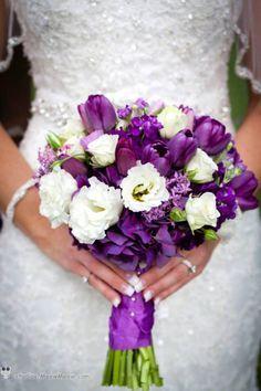 Purple And White Wedding Flower Arrangements