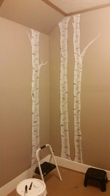 Birch tree nursery painting, almost done! :)