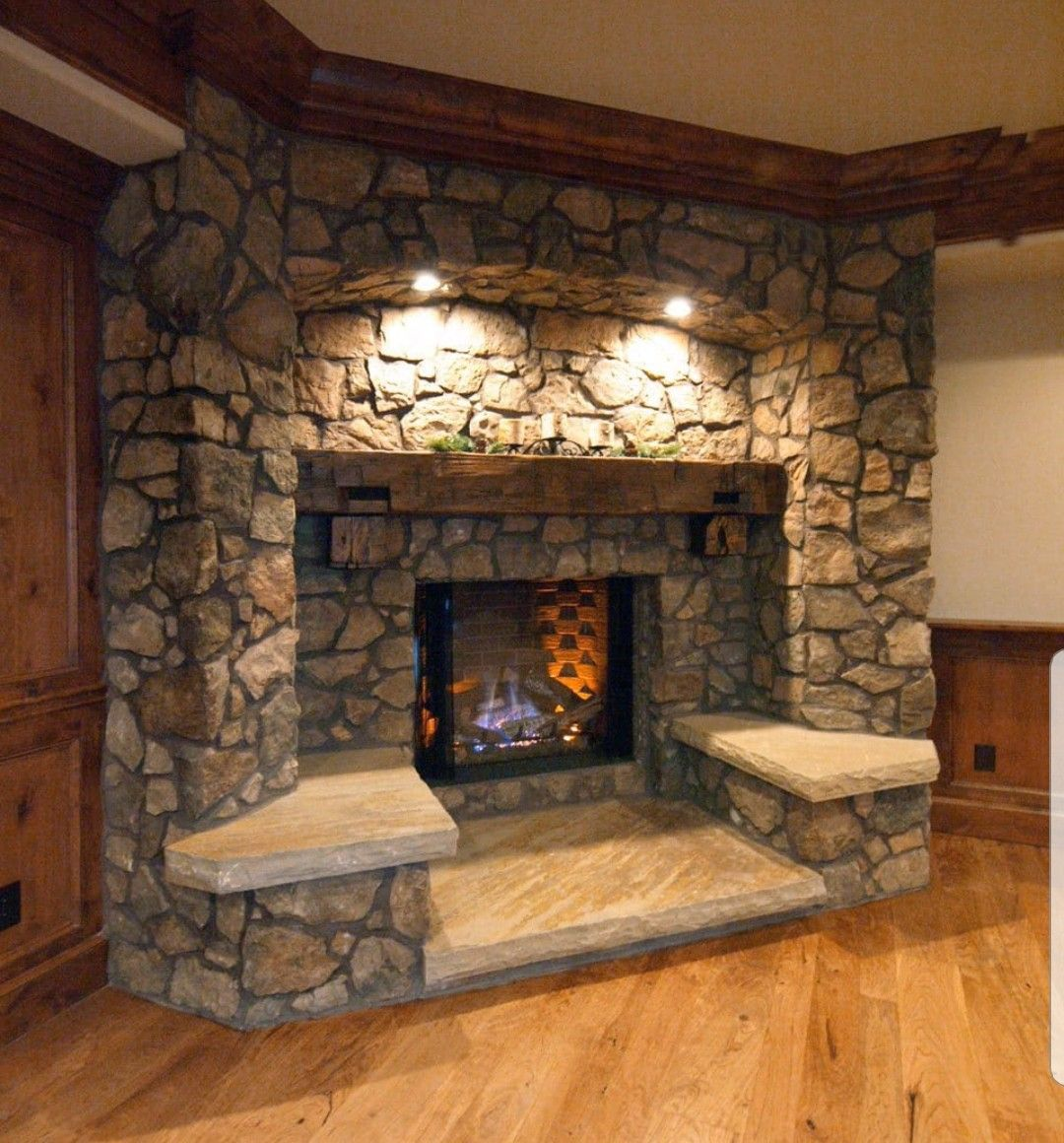 stone fireplace with a stone seat on each side dream home in 2019 rh pinterest com