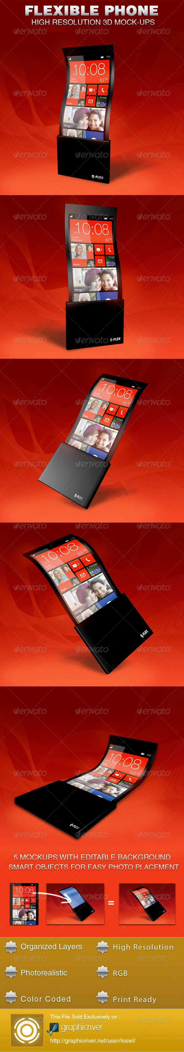 The Flexible Phone Mockup Template is sold exclusively on graphicriver, it can be used for your UI display projects or for other digital display items. The file includes 5 High Resolution Mockups with Smart objects for easy placement of images.  $5.00