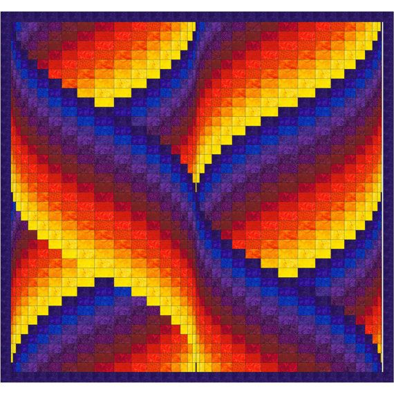 Ribbon Swirls Bargello Quilt Pattern #projectstotry