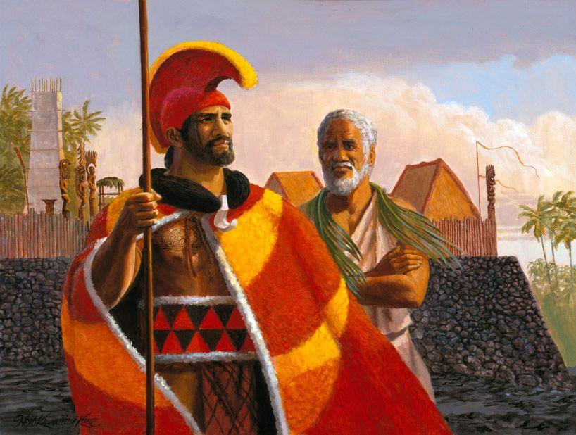king kamehameha at kailua � painting by herb kawainui k�ne