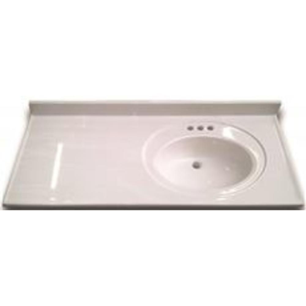 Bathroom Vanity Top With Right Recessed Bowl Cultured Marble White 22x43 In Per Ea Cultured Marble Bathroom Vanity Tops Bathroom Vanity