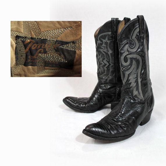 Vintage cowboy boots, Black leather boots