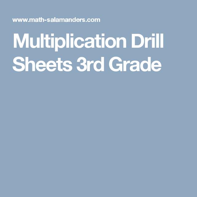 Multiplication Drill Sheets 3rd Grade | School | Pinterest ...