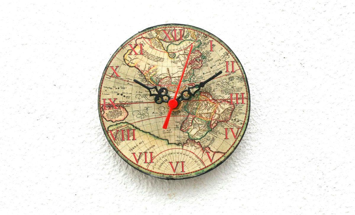 World map wooden clock magnetic clock vintage clock little clock world map wooden clock magnetic clock vintage clock little clock small clock gumiabroncs Images