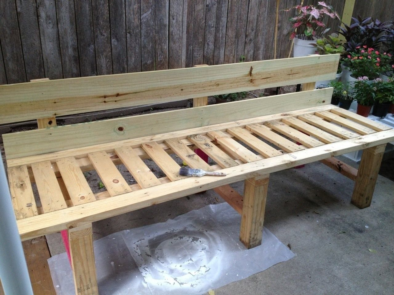 Bench from pallets. DIY Pallets + reclaimed lumber + 2- 5 ...