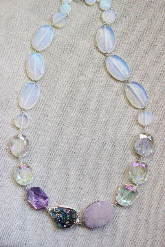 New for 2015    A sweet mix of winter, fall and spring colors.. This necklace has glowing opalite and glass crystals. Ive added a lavender