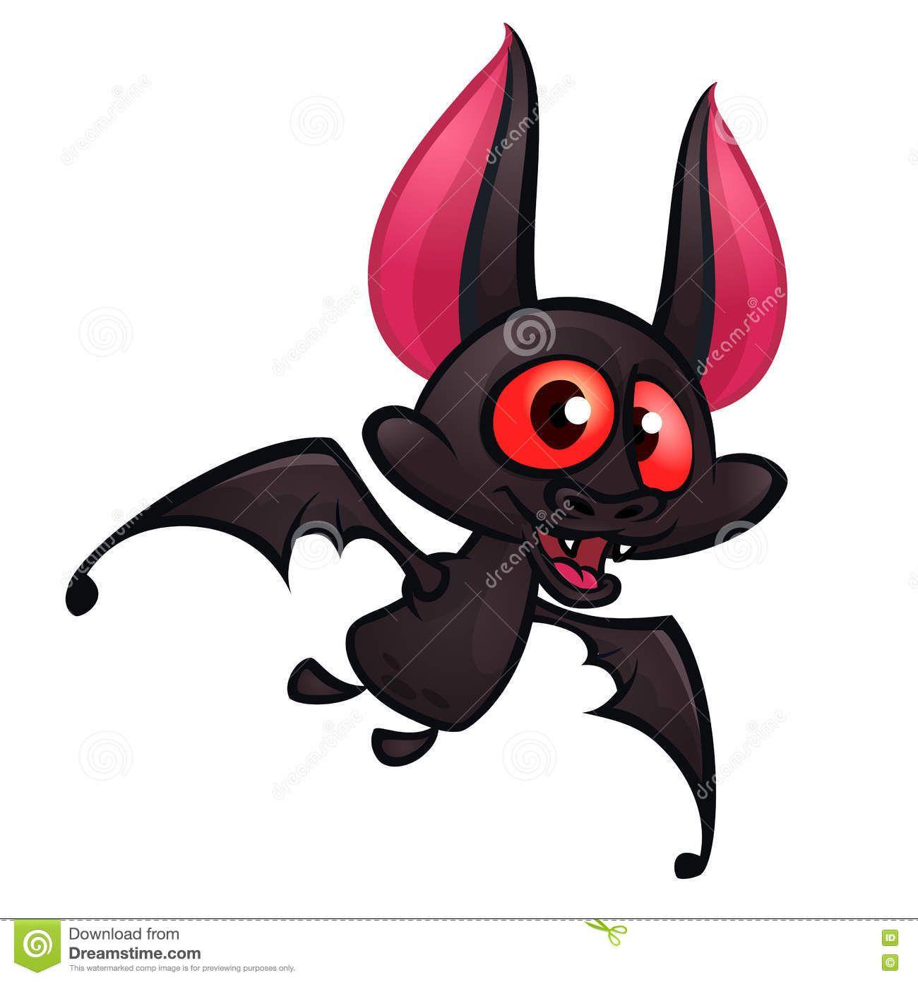 Illustration Of Cute Cartoon Halloween Bat Flying Download From