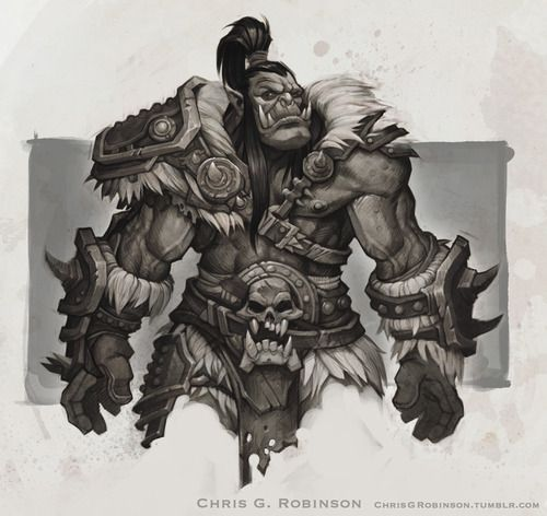 This is a costuming concept for a character named Grommash in WoW. He's going through a mid-life barbarian phase, so the design needed...