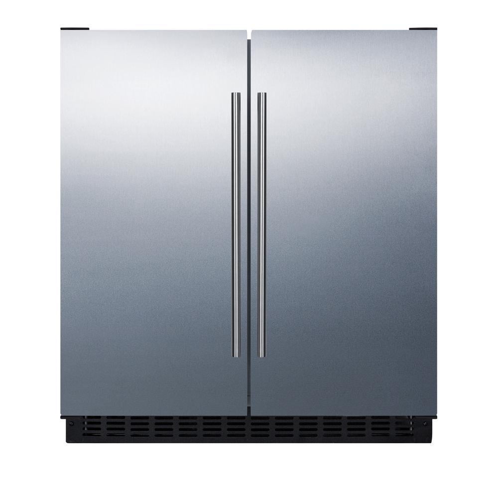 Summit Appliance 30 In 5 4 Cu Ft Built In Side By Side Refrigerator In Stainless Steel Counter In 2020 Side By Side Refrigerator Refrigerator Freezer Counter Depth