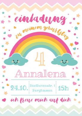 Süße Regenbogen Einladungskarte In Pastell Zum 4. Geburtstag Für Mädchen