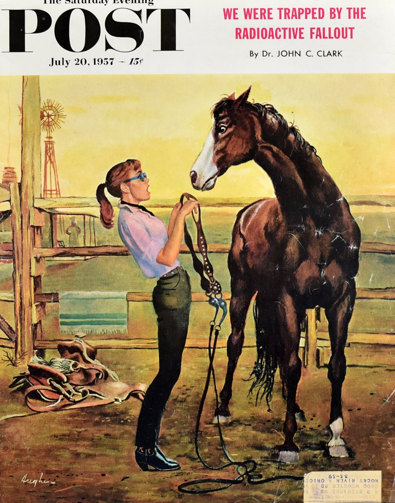 1957 Girl Putting on the Bridle 1950s Saturday Evening