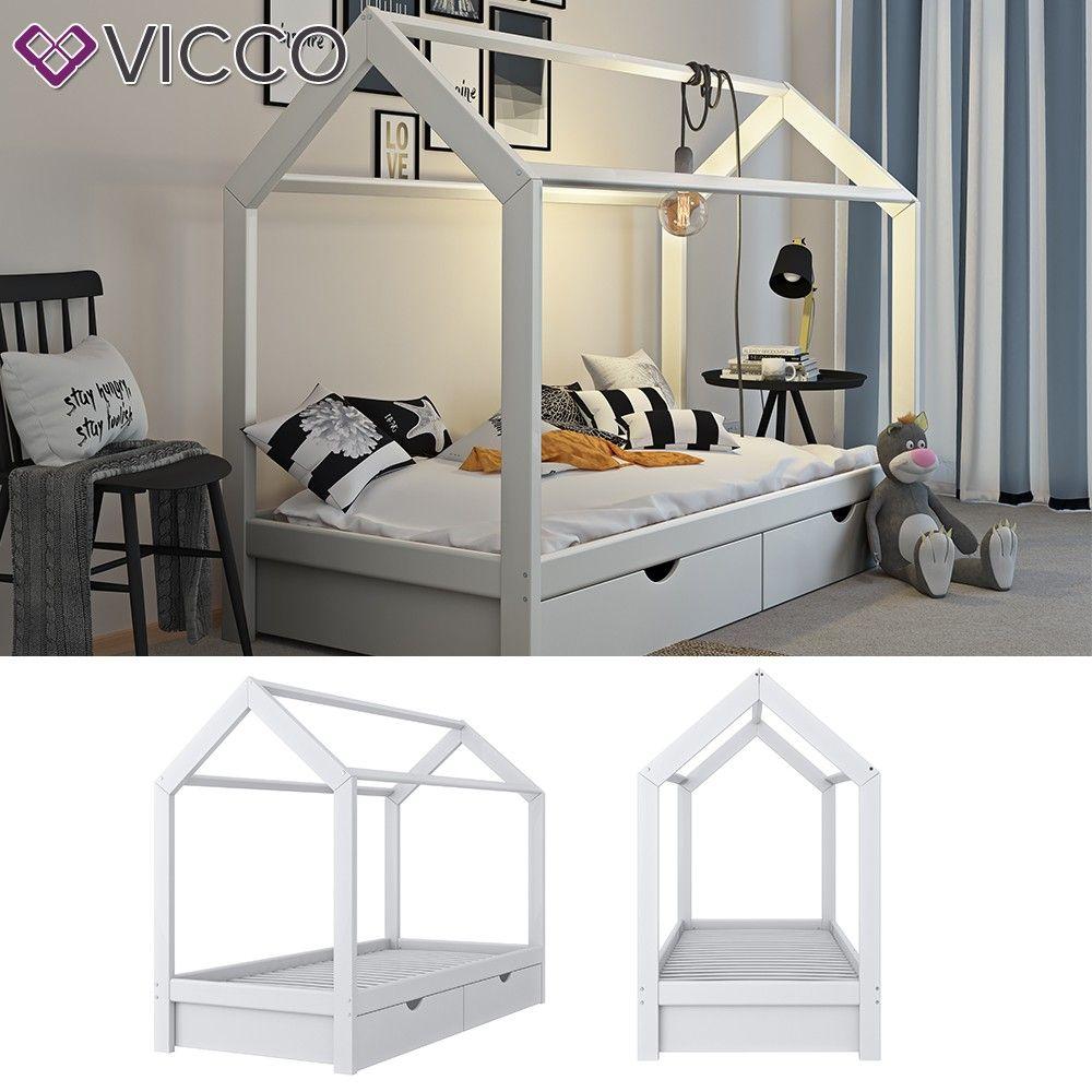 Vicco Vvicco Kinderbett Hausbett Weiss 90x200 Cm Schubladen Bett Holz