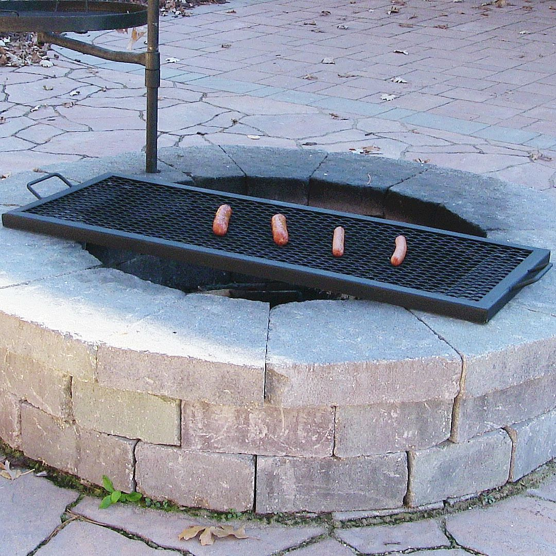 Sunnydaze X Marks Rectangle Fire Pit Cooking Grill Fire Pit