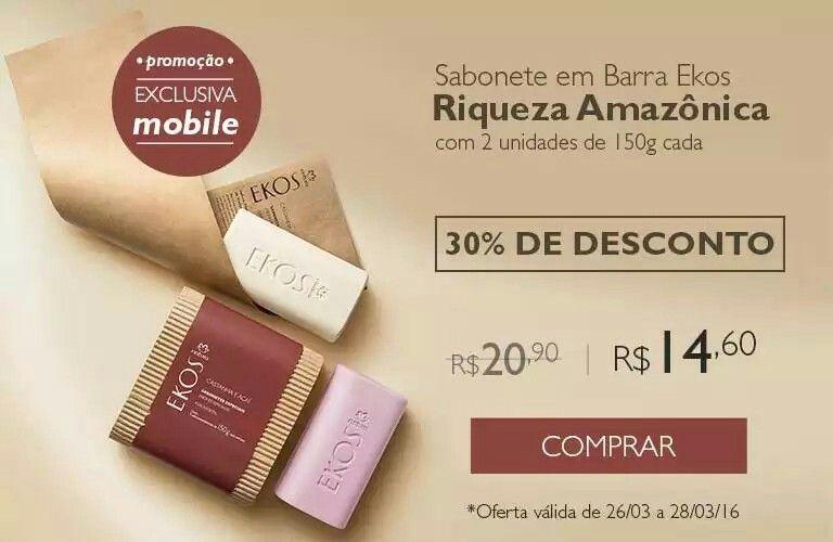 O cheiro da Amazônia ao seu alcance!  Sabonete em Barra Ekos Riqueza da Amazônia.    Promoção exclusiva para compras realizadas pelo celular!  Acesse rede.natura.net/espaco/potiguar e aproveite!