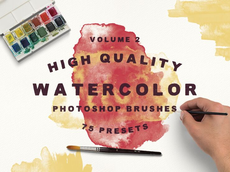 75 High Quality Watercolor Photoshop Brushes Vol 2 Photoshop