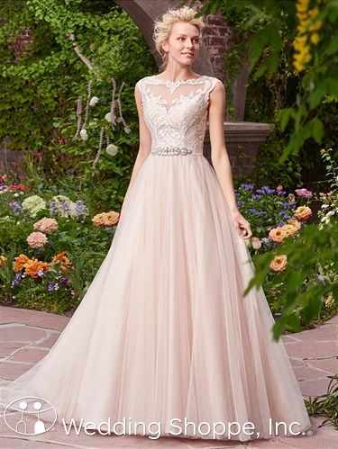 ad2cbe630dde A romantic tulle ball gown with lace cap sleeves and illusion neckline.    Rebecca Ingram Bridal Gown