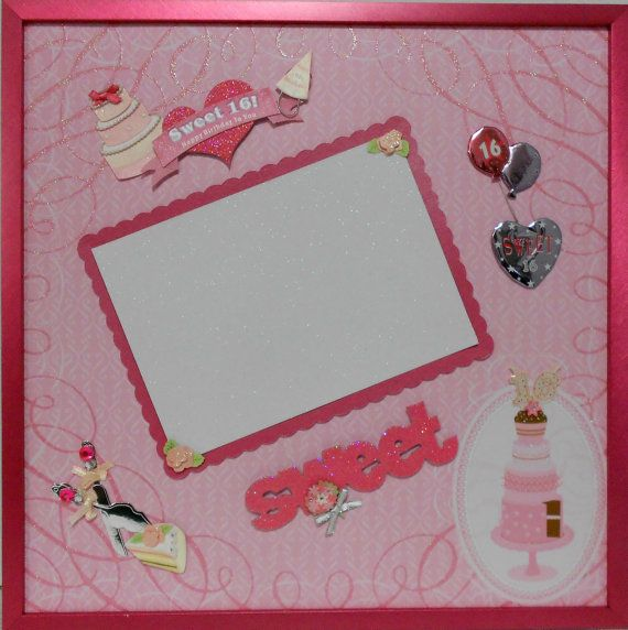 SWEET 16 BIRTHDAY Memory Album Page with Raspberry Metallic Shadow ...