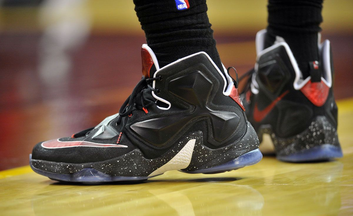 new arrivals 69739 59db2 LeBron James wearing Black White-Red Nike LeBron 13 PE (1)