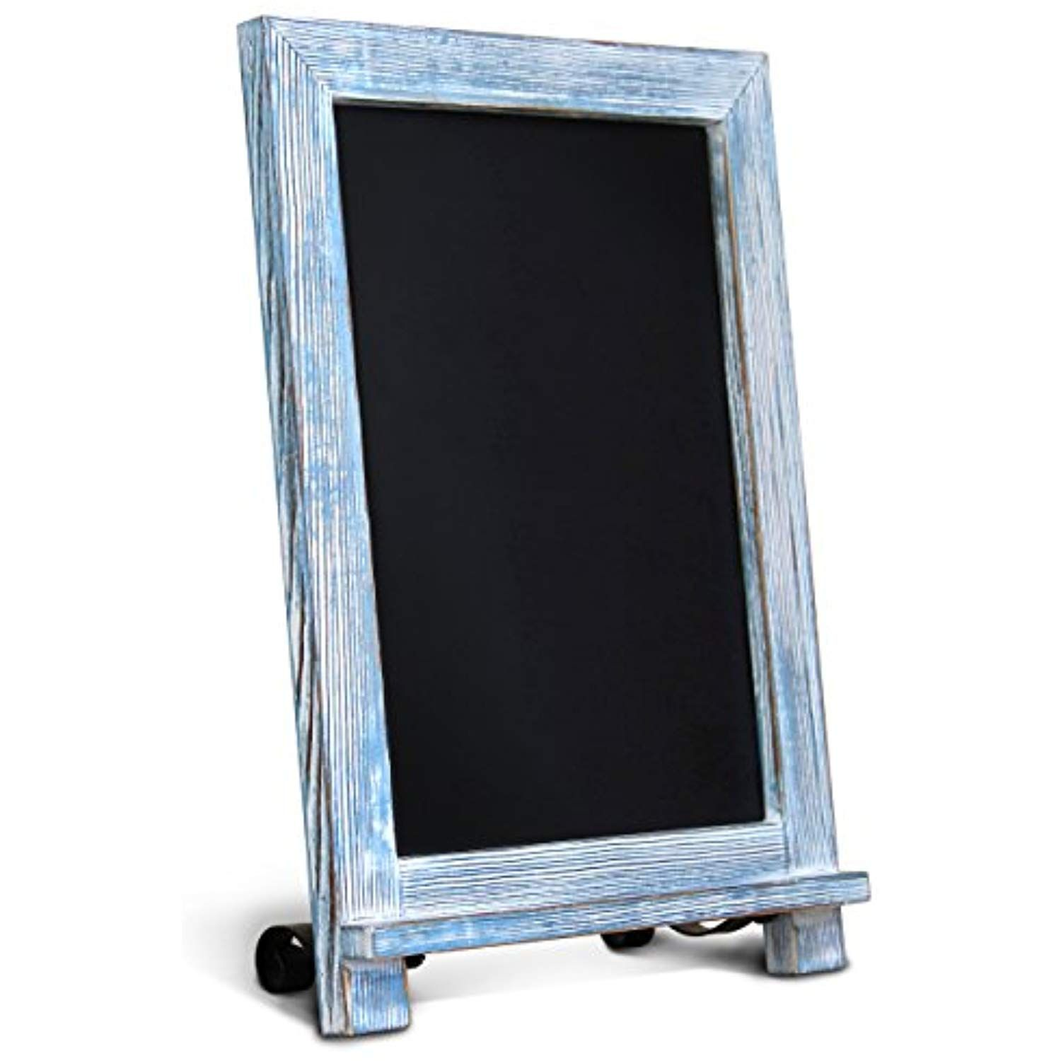 Hbcy Creations Rustic Small Tabletop Chalkboard Sign Hanging Magnetic Wall Chalkboard Countertop Chalkboard Easel Kitchen Hanging Signs Magnetic Wall Blue Wood