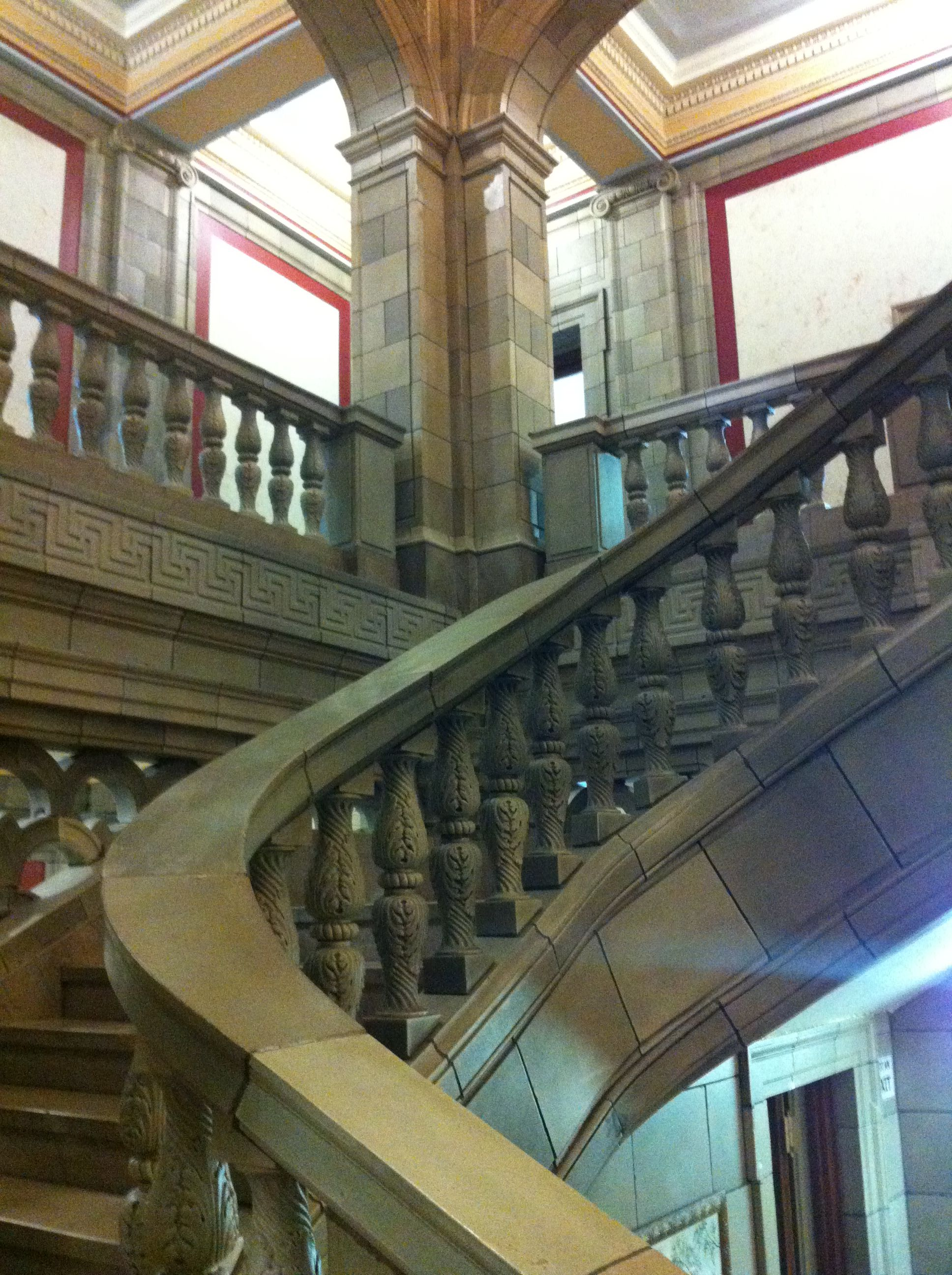 The grand staircase at the Hardin County