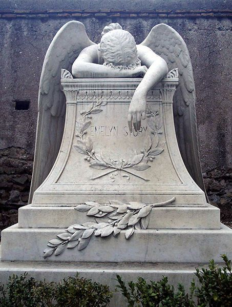 Angel of Grief is an 1894 sculpture by William Wetmore Story which serves as the grave stone of the artist and his wife at the Protestant Ce...