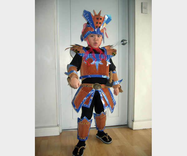 Recycled Halloween Decorations: Cardboard Boxes Don't Normally Make Great Body Armor, But